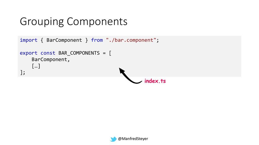 @ManfredSteyer Grouping Components import { Bar...