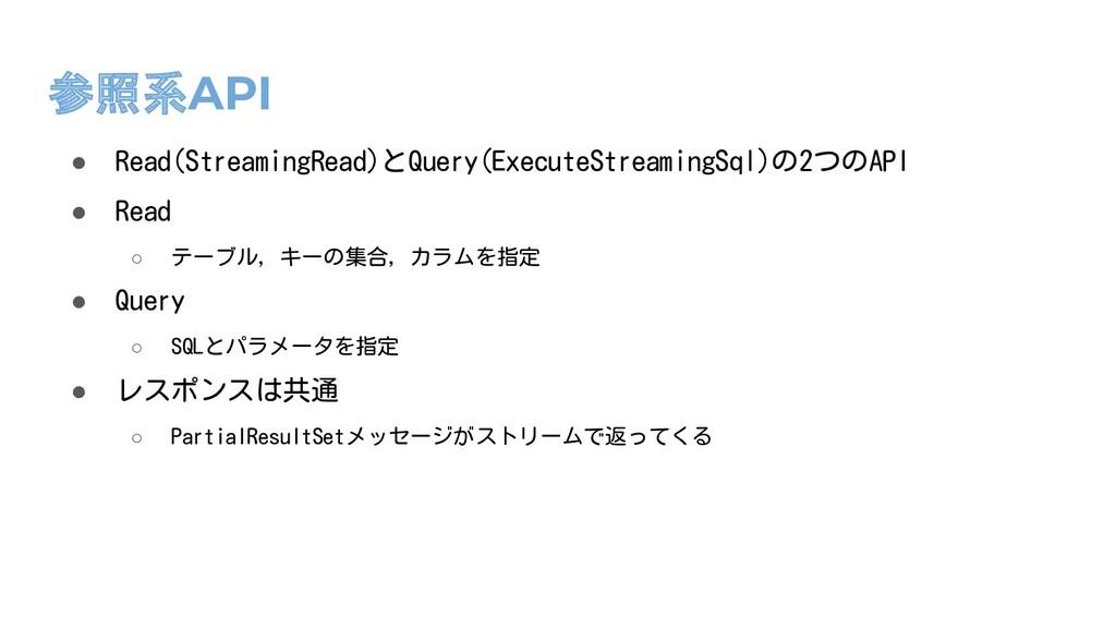 参照系API ● Read(StreamingRead)とQuery(ExecuteStrea...
