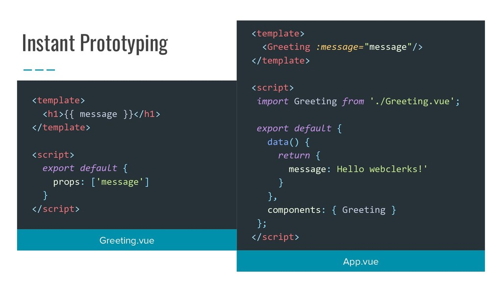 Instant Prototyping <template> <Greeting :messa...
