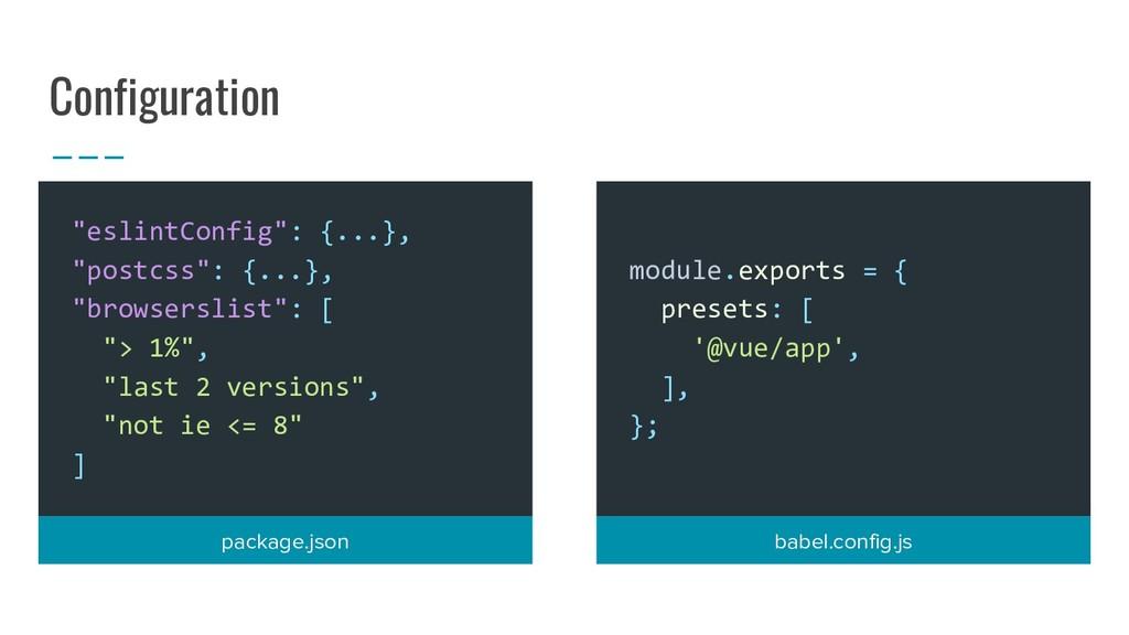 "Configuration ""eslintConfig"": {...}, ""postcss"":..."