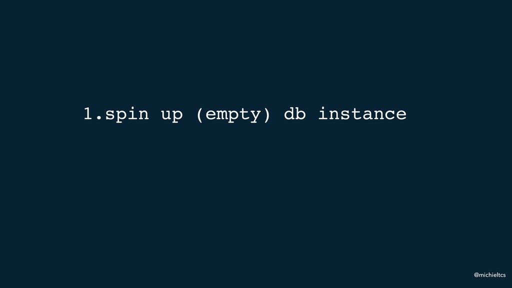 @michieltcs 1.spin up (empty) db instance