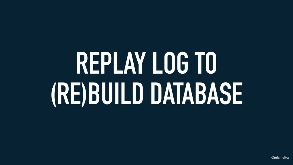 @michieltcs REPLAY LOG TO (RE)BUILD DATABASE