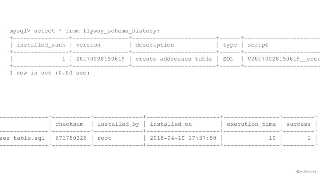 @michieltcs mysql> select * from flyway_schema_...