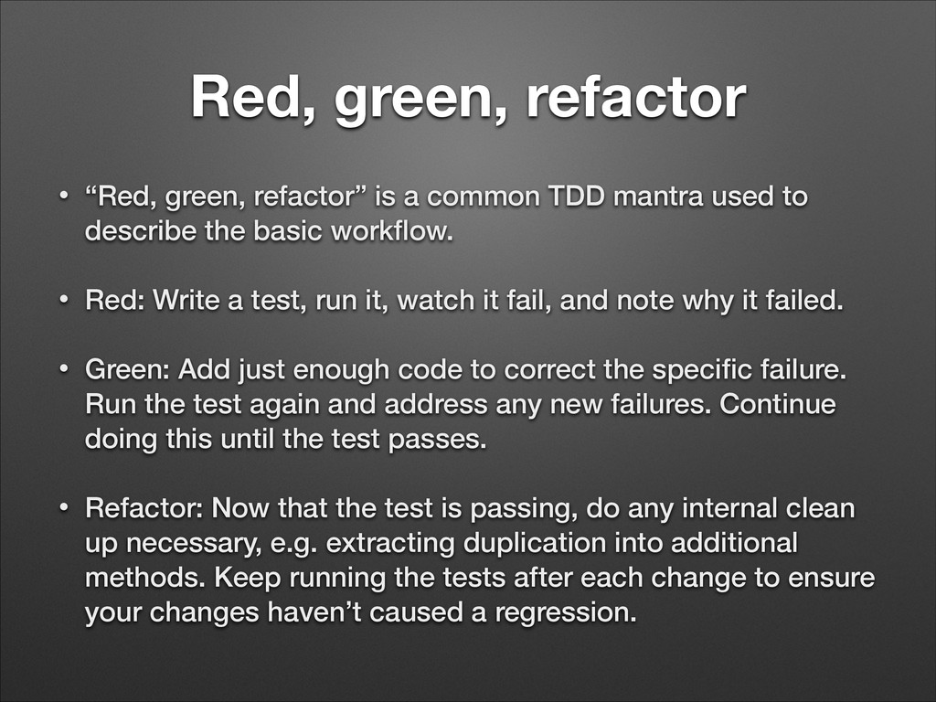 """Red, green, refactor • """"Red, green, refactor"""" i..."""