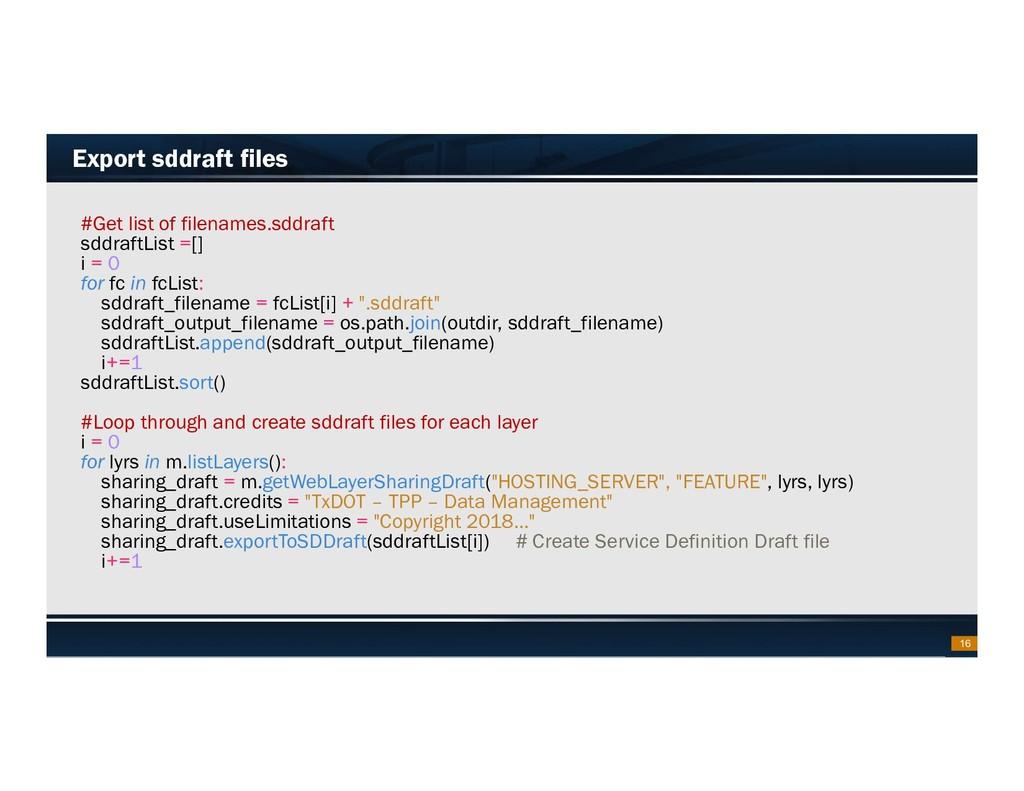 Footer Text Date Export sddraft files #Get list...