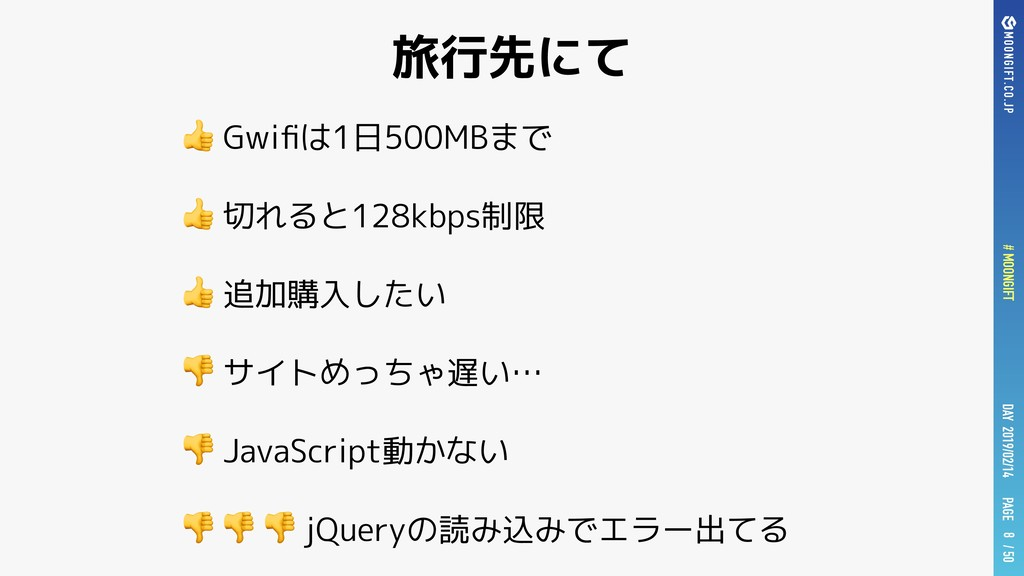 PAGE # MOONGIFT / 50 DAY 2019/02/14 旅行先にて  Gwifi...