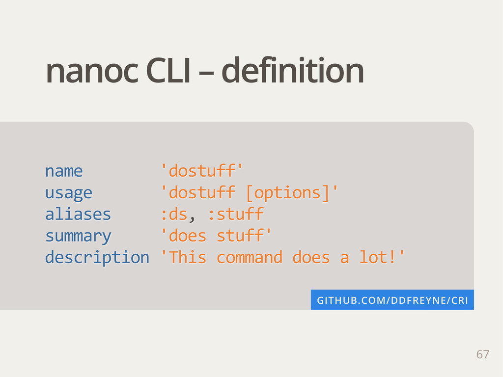 67 nanoc CLI – definition name        '...