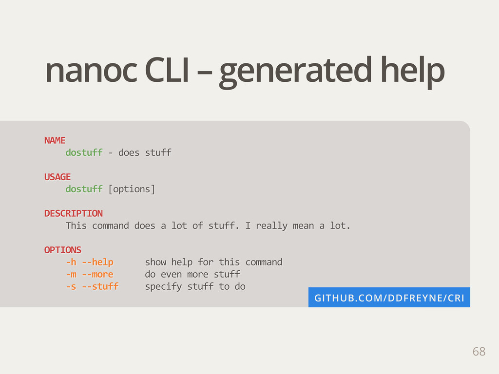 68 nanoc CLI – generated help NAME         dost...