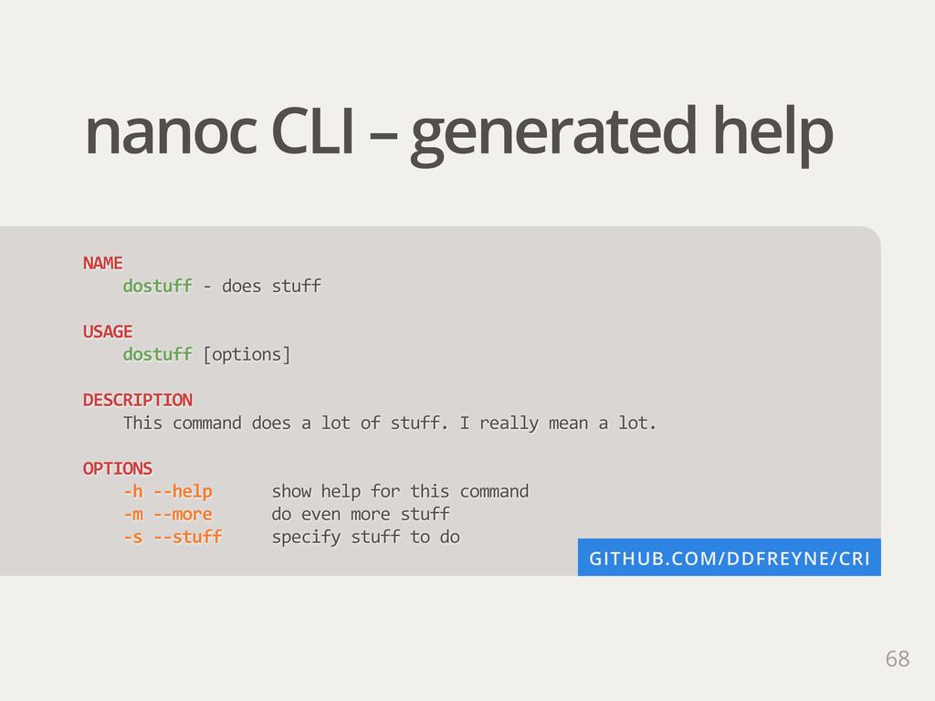 68 nanoc CLI – generated help NAME     dost...