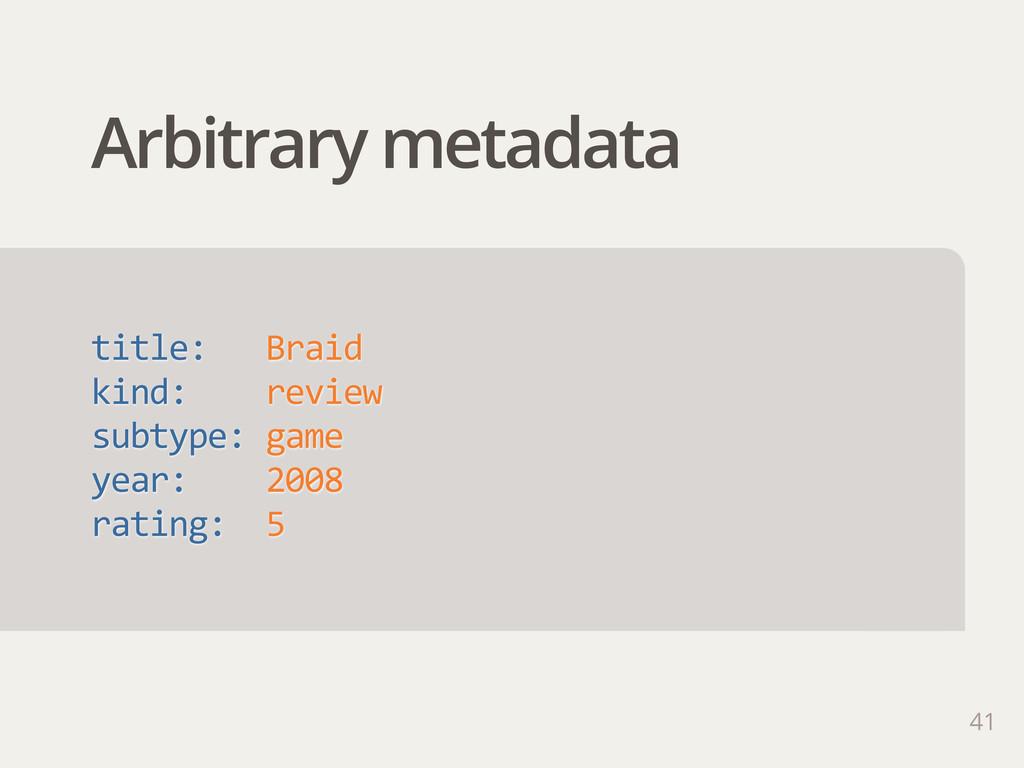 Arbitrary metadata 41 title:   Braid kind: ...
