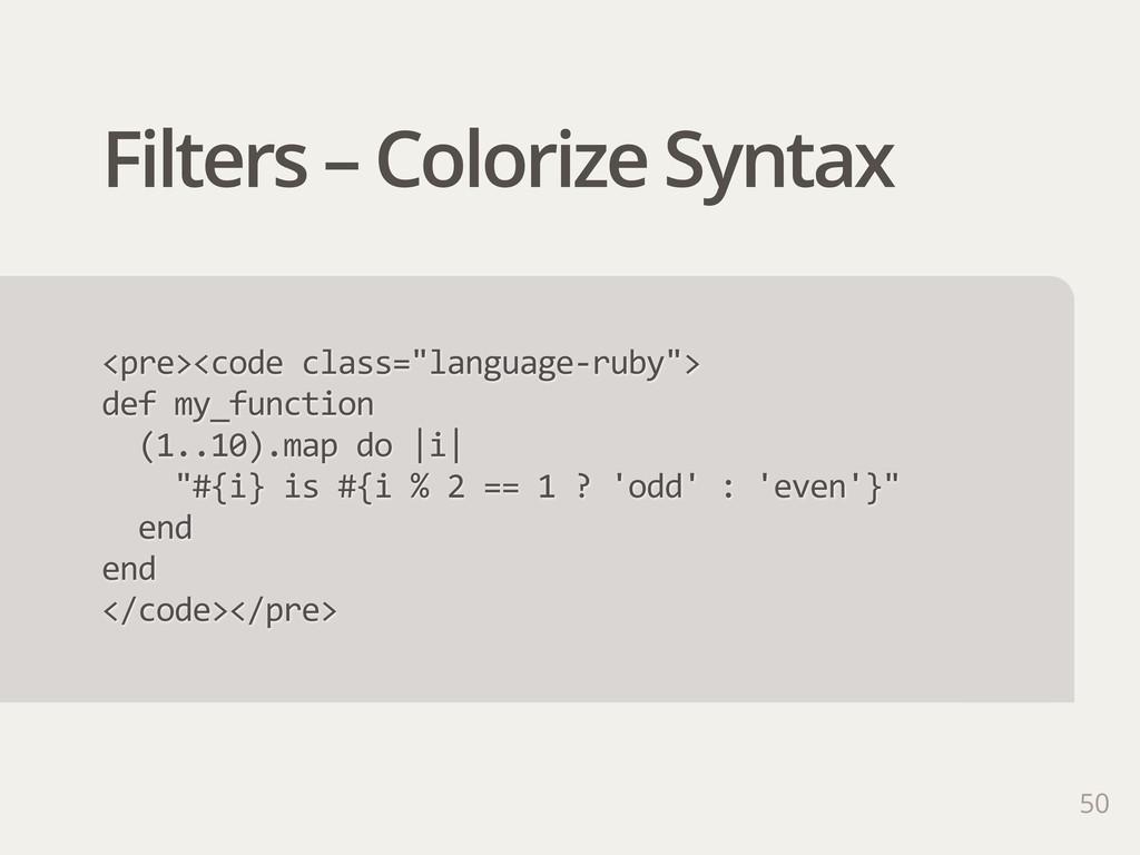 """Filters – Colorize Syntax <pre><code class=""""la..."""