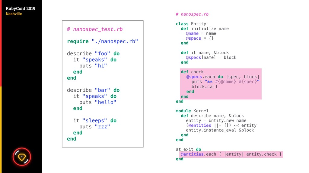 # nanospec.rb class Entity def initialize name ...