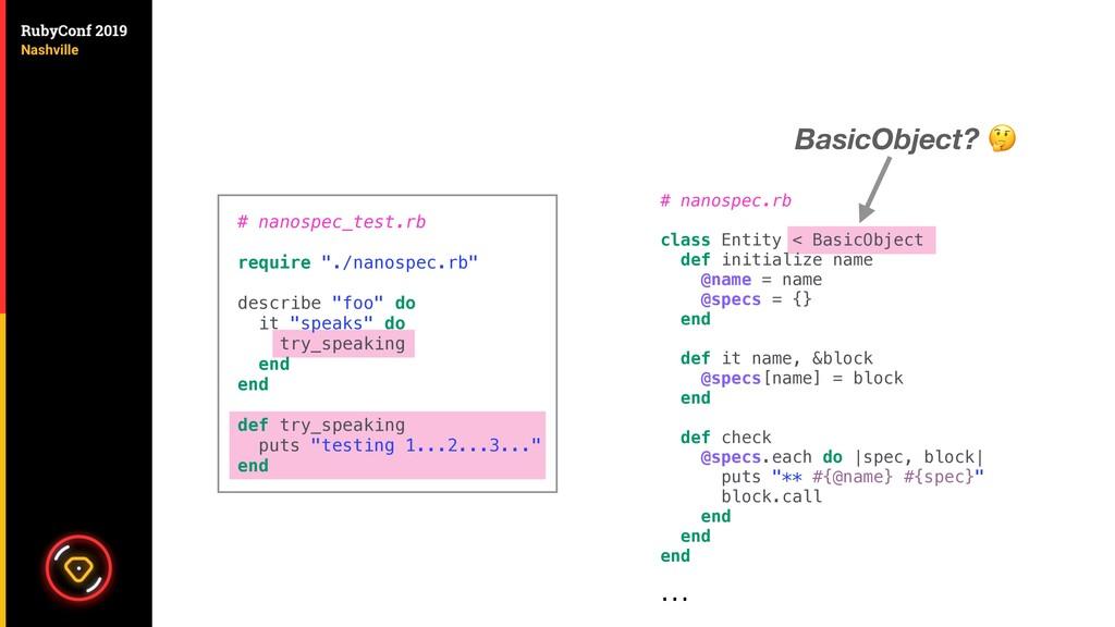 # nanospec.rb class Entity < BasicObject def in...