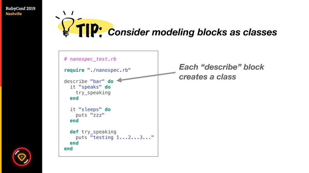 """Each """"describe"""" block creates a class # nanospe..."""