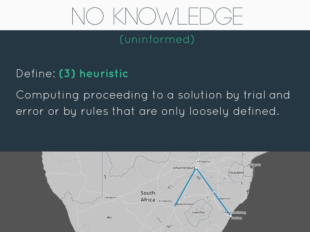 No Knowledge (uninformed) Define: (3) heuristic...