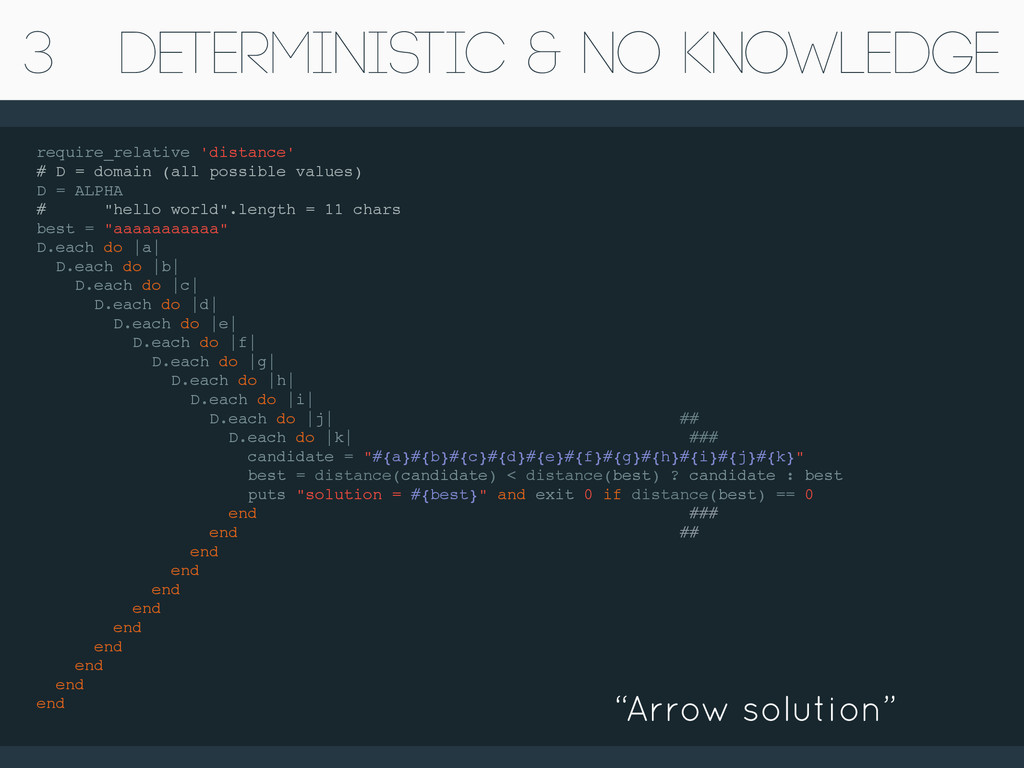 "Deterministic & No Knowledge 3 ""Arrow solution""..."