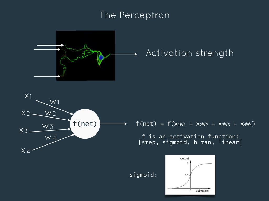 The Perceptron f(net) w1 w2 w3 w4 x1 x2 x3 x4 A...