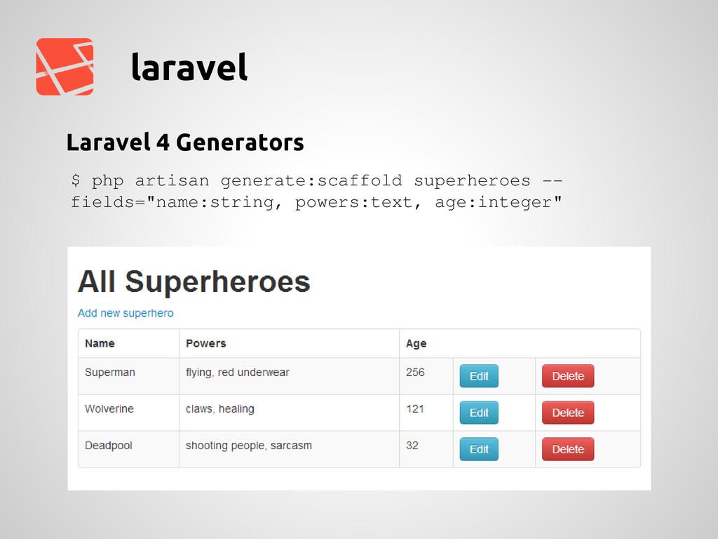 laravel Laravel 4 Generators $ php artisan gene...