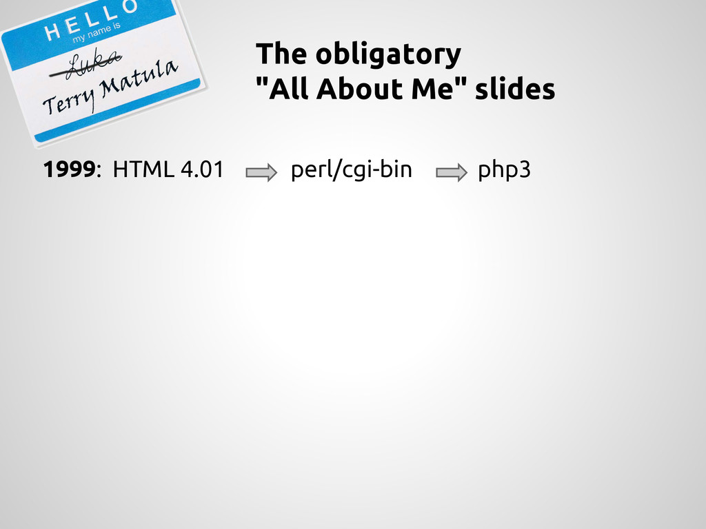 """The obligatory """"All About Me"""" slides 1999: HTML..."""