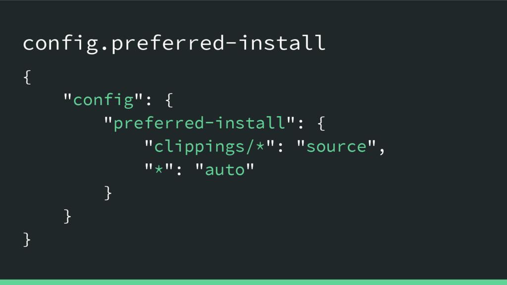 "config.preferred-install { ""config"": { ""preferr..."