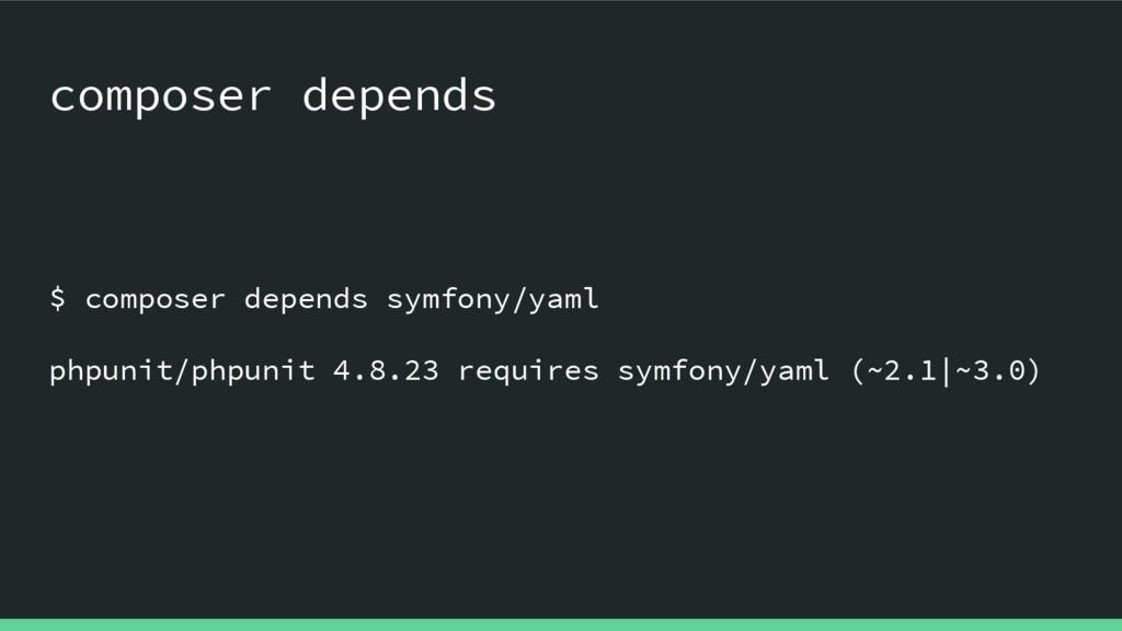 $ composer depends symfony/yaml phpunit/phpunit...
