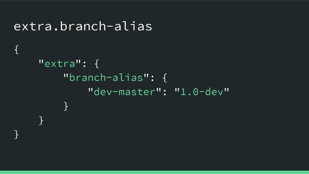 """extra.branch-alias { """"extra"""": { """"branch-alias"""":..."""