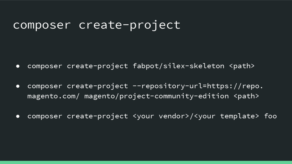 ● composer create-project fabpot/silex-skeleton...
