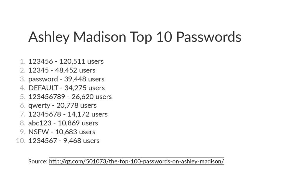 Ashley Madison Top 10 Passwords 1. 123456 ‐ 12...