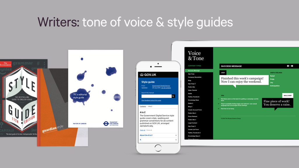 Writers: tone of voice & style guides