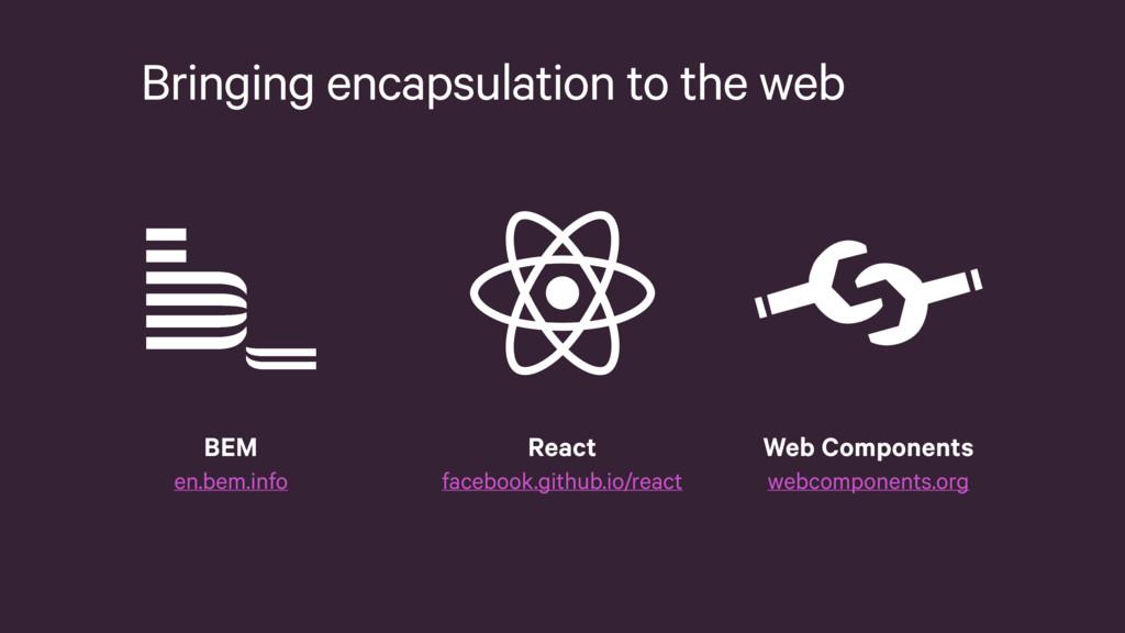 Bringing encapsulation to the web React faceboo...