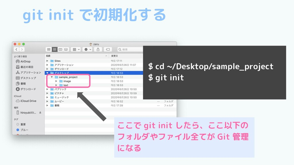git init で初期化する $ cd ~/Desktop/sample_project $...