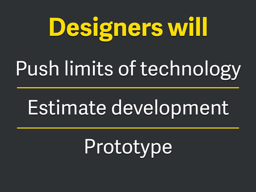 Push limits of technology Estimate development ...