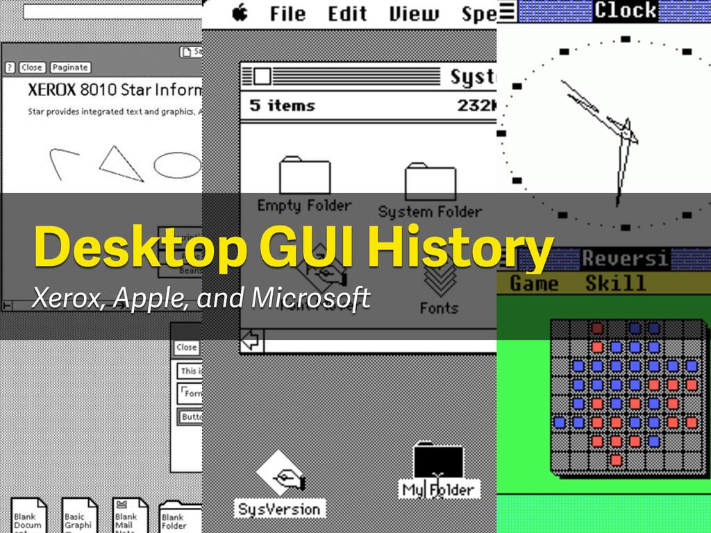 Desktop GUI History Xerox, Apple, and Microsoft