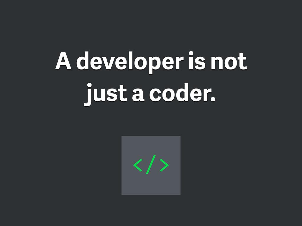 A developer is not just a coder. </>