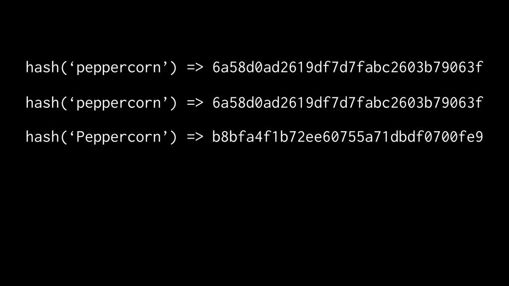 hash('peppercorn') => 6a58d0ad2619df7d7fabc2603...