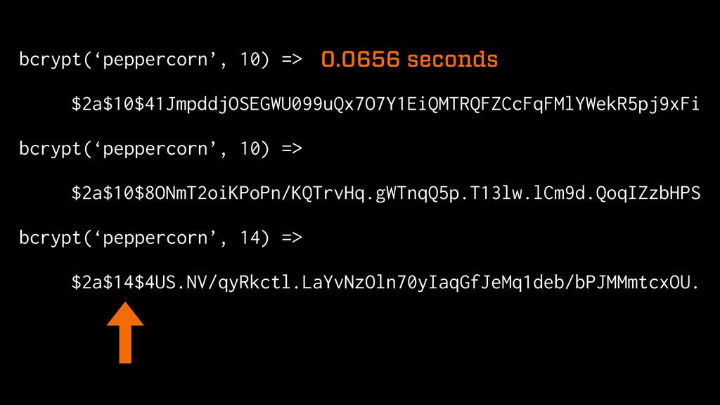 bcrypt('peppercorn', 10) => $2a$10$41JmpddjOSEG...