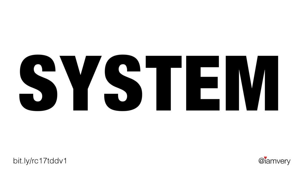 @iamvery ♥ bit.ly/rc17tddv1 SYSTEM