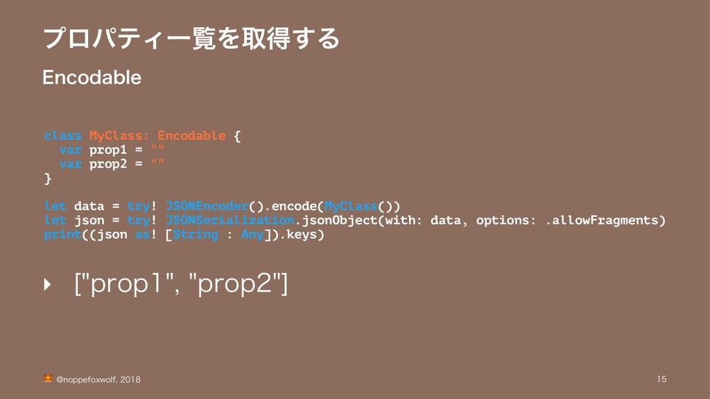 ϓϩύςΟҰཡΛऔಘ͢Δ &ODPEBCMF class MyClass: Encodable...