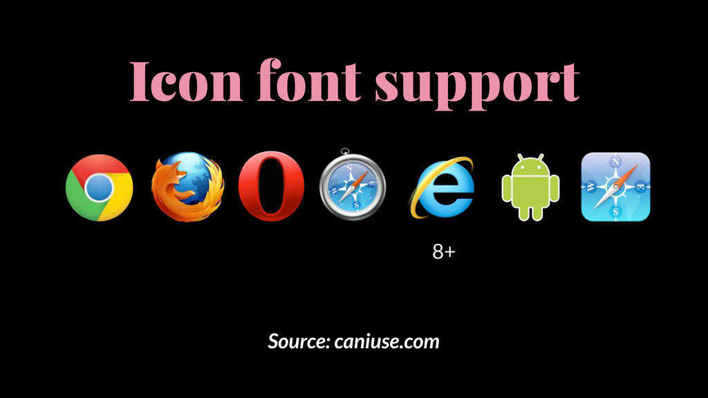 Source: caniuse.com Icon font support 8+