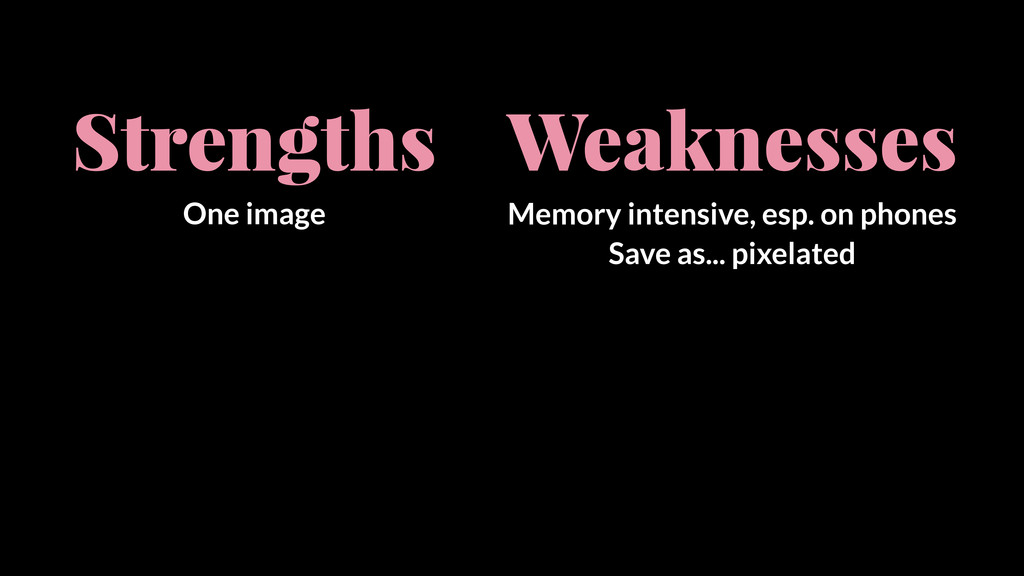 Strengths One image Weaknesses Memory intensive...
