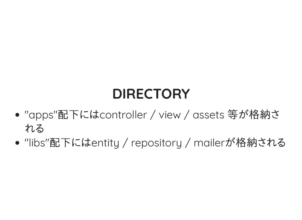 "DIRECTORY ""apps""配下にはcontroller / view / assets ..."