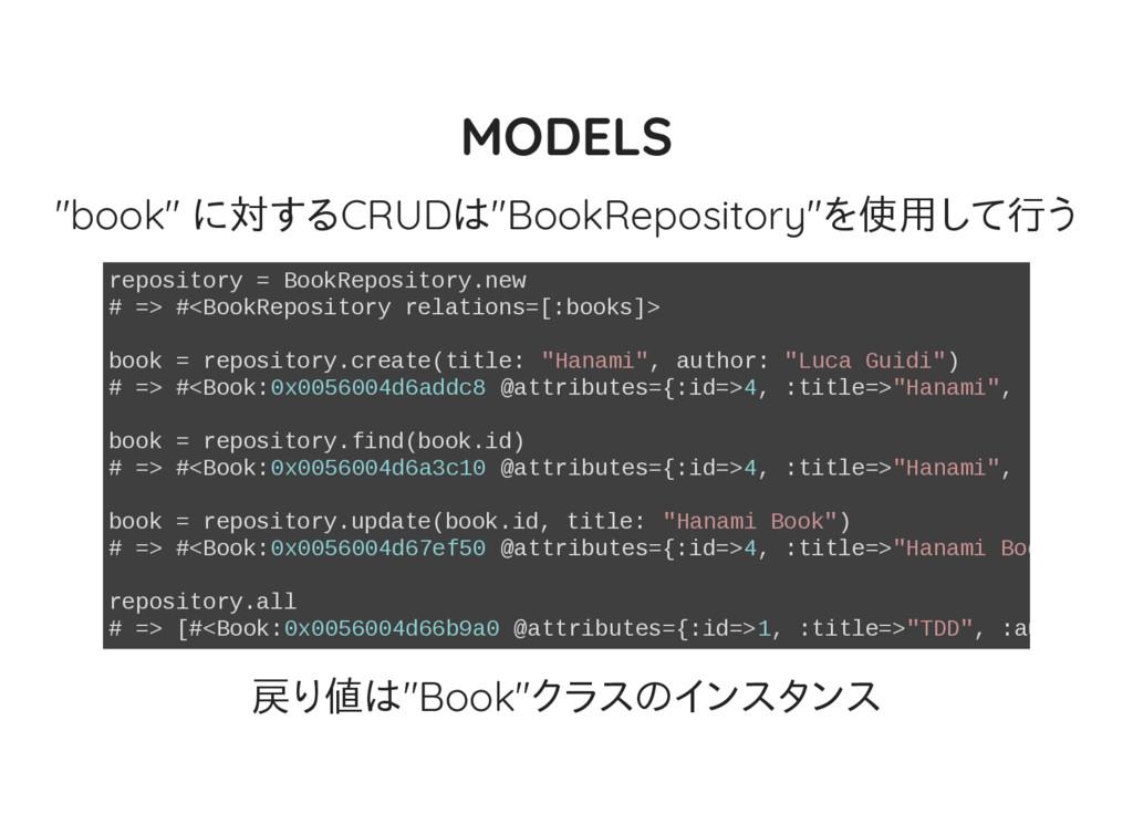 "MODELS ""book"" に対するCRUDは""BookRepository""を使用して行う ..."