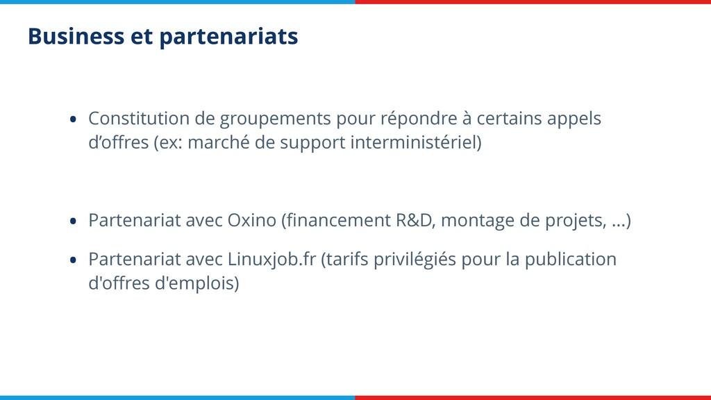 Business et partenariats • Constitution de grou...