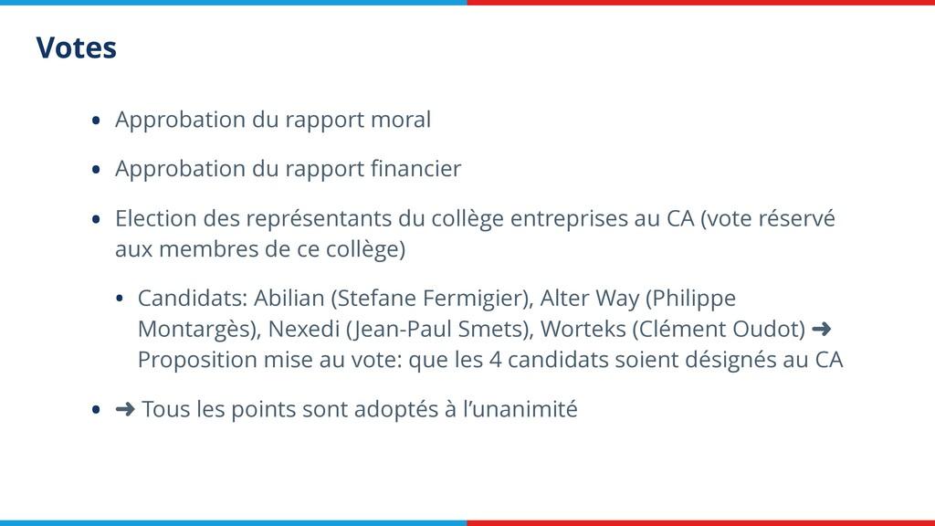 Votes • Approbation du rapport moral • Approbat...
