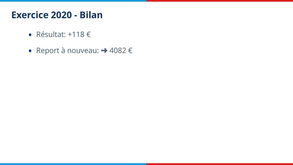 Exercice 2020 - Bilan • Résultat: +118 € • Repo...