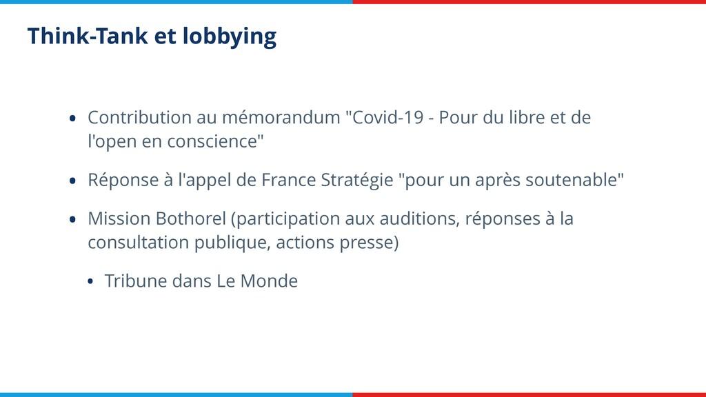 Think-Tank et lobbying • Contribution au mémora...