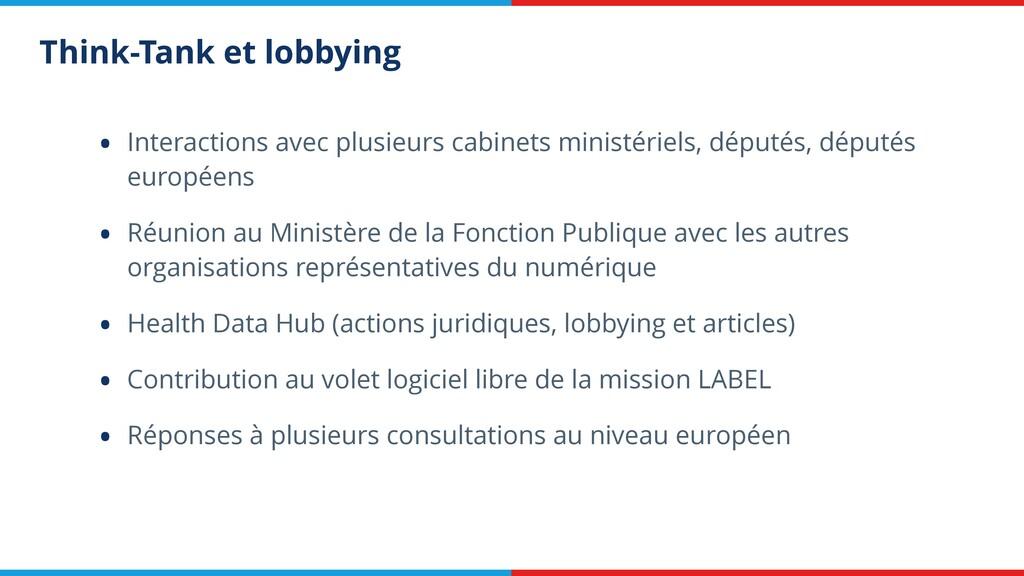 Think-Tank et lobbying • Interactions avec plus...
