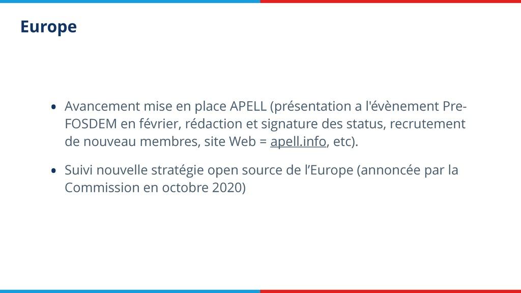Europe • Avancement mise en place APELL (présen...