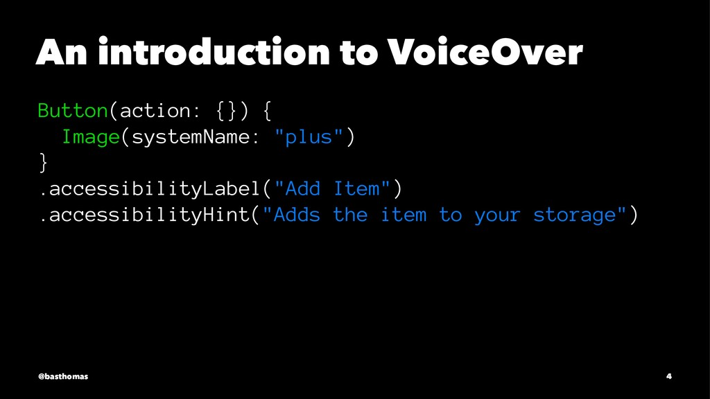 An introduction to VoiceOver Button(action: {})...