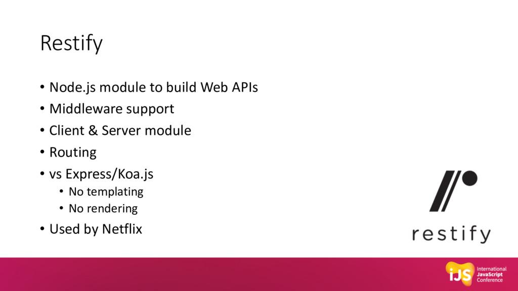 Restify • Node.js module to build Web APIs • Mi...